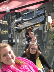 Danielle, Sarah, Karen, Maggie and Megan on the chairlift through the zoo
